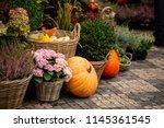 Autumn Decoration With Pumpkin...
