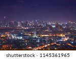 scenic of night cityscape with... | Shutterstock . vector #1145361965