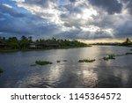 beautiful sun beams and sky... | Shutterstock . vector #1145364572