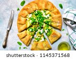 delicious summer galette with... | Shutterstock . vector #1145371568