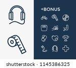 lifestyle icon set and earphone ...