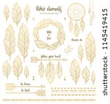 set of boho style hand drawn... | Shutterstock .eps vector #1145419415