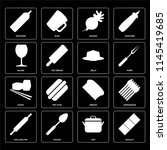 set of 16 icons such as biscuit ...
