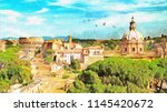 Painting Of Rome Cityscape Wit...