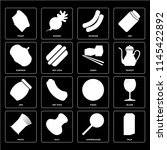 set of 16 icons such as milk ... | Shutterstock .eps vector #1145422892
