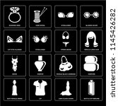 set of 16 icons such as bottle...