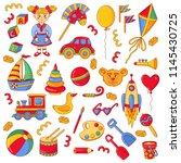 toys childish colorful doodle... | Shutterstock .eps vector #1145430725