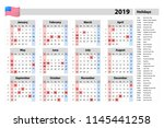vector simple calendar 2019  ... | Shutterstock .eps vector #1145441258