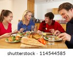 teenage family eating lunch... | Shutterstock . vector #114544585