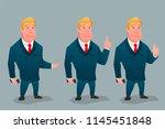 businessman posing pos. cartoon ... | Shutterstock .eps vector #1145451848