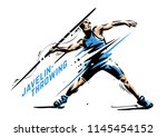 javelin throwing. sport vector... | Shutterstock .eps vector #1145454152