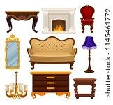 flat vector set of vintage... | Shutterstock .eps vector #1145461772