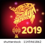 chinese 2019 happy new year of... | Shutterstock .eps vector #1145461862