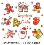 flat vector set of christmas... | Shutterstock .eps vector #1145461865
