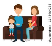 parents couple with daughter... | Shutterstock .eps vector #1145464295