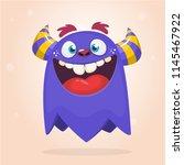 cool funny cartoon monster.... | Shutterstock .eps vector #1145467922