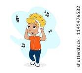 little blonde boy cartoon... | Shutterstock .eps vector #1145476532