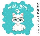 cute cartoon white kitten in... | Shutterstock . vector #1145479958