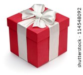 red gift box with white ribbon... | Shutterstock . vector #114548092