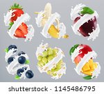 fruits and berries in milk... | Shutterstock .eps vector #1145486795