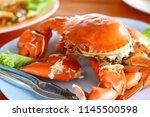 grilled big crab | Shutterstock . vector #1145500598