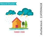 thunder storm disaster in flat...   Shutterstock .eps vector #1145504618