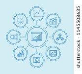 set of 9 chart outline icons... | Shutterstock .eps vector #1145508635