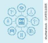 set of 9 lift outline icons... | Shutterstock .eps vector #1145511005