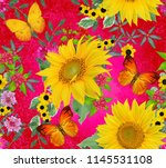 floral seamless pattern. yellow ... | Shutterstock . vector #1145531108