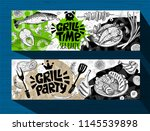 barbecue banner posters grilled ...   Shutterstock .eps vector #1145539898