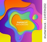 colorful paper cut background | Shutterstock . vector #1145554202