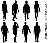 set silhouette of people... | Shutterstock . vector #1145556665