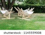 garden hammock for rest in the...   Shutterstock . vector #1145559008