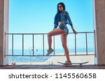 seductive sexy brunette girl... | Shutterstock . vector #1145560658