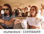 group of young women singing... | Shutterstock . vector #1145566655