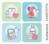 set of health and medicine cards | Shutterstock .eps vector #1145575772