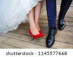 wedding shoes. wedding... | Shutterstock . vector #1145577668