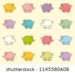 funny colorful piglets against... | Shutterstock .eps vector #1145580608