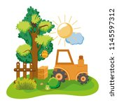 agrimotor tractor with farm... | Shutterstock .eps vector #1145597312