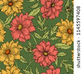 retro floral seamless pattern... | Shutterstock .eps vector #1145597408