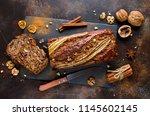 homemade banana bread with... | Shutterstock . vector #1145602145