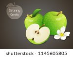 granny smith apples whole and...   Shutterstock .eps vector #1145605805