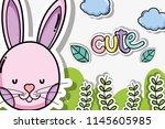 cute animal cards | Shutterstock .eps vector #1145605985