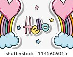 hello card with cute cartoons | Shutterstock .eps vector #1145606015