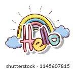 hello cute card | Shutterstock .eps vector #1145607815