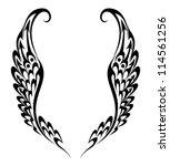 wings tribal tattoo | Shutterstock .eps vector #114561256