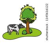 color cute cow farm animal next ... | Shutterstock .eps vector #1145616122