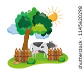 cow farm animal with wood... | Shutterstock .eps vector #1145620298