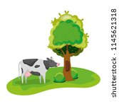 cute cow farm animal next to... | Shutterstock .eps vector #1145621318