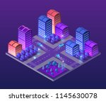 isometric ultra city concept of ... | Shutterstock .eps vector #1145630078